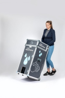 """happy disinfection"" von M.A. Systems: Neue mobile Hygienestation für flexibles Händereinigen"