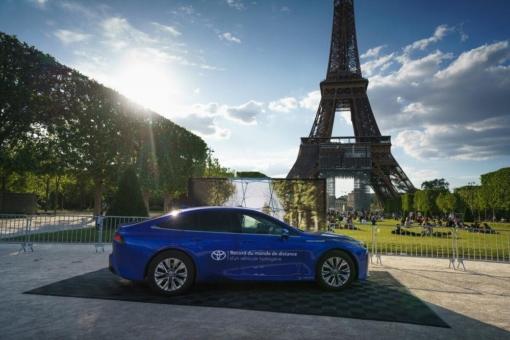 Toyota Mirai (Kraftstoffverbrauch nach WLTP: Wasserstoff kombiniert 0,89-0,79 kg/100 km; Stromverbrauch kombiniert 0 kWh/100 km; CO2-Emissionen kombiniert 0 g/km) stellt Reichweitenrekord auf