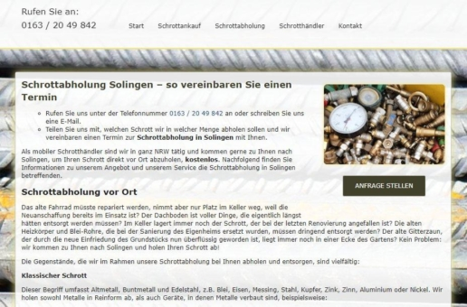 Schrottabholung in Solingen